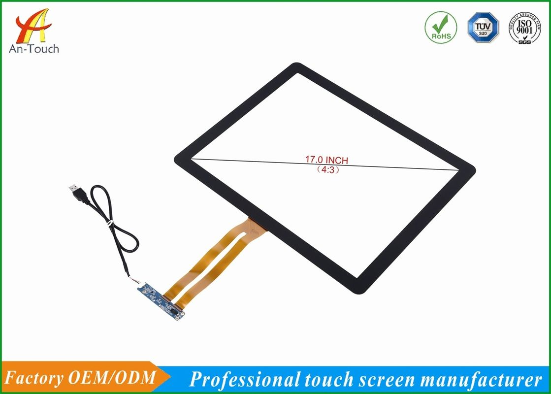 High Sensitive Touch Screen 17 Inch 1280*800 Resolution , 86% Min Transmittance